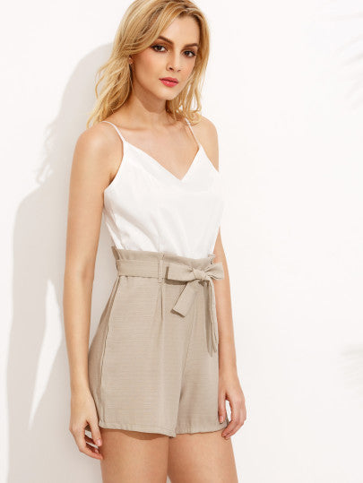 Classy Summer Tan White Romper with Waist Tie Playsuit