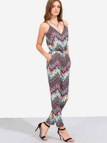 Summer Trendy Bright Jumpsuit Multicolor Print Spaghetti Strap Pockets Jumpsuit