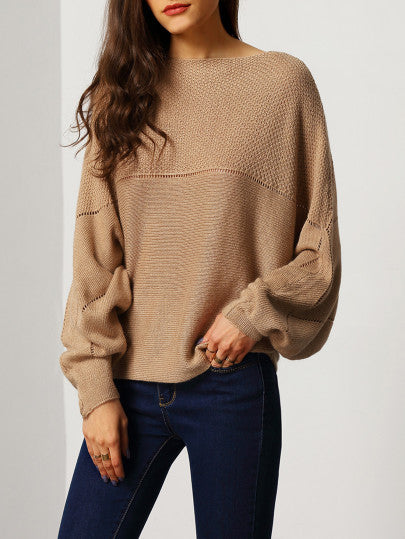 Brown Batwing Boat Neck Sweater