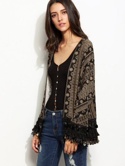 Kimono with Tribal Print in Black and Brown with Fringe
