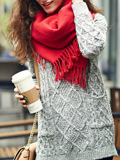 Red Trendy Scarf for Winter and Holidays Tassel Scarves