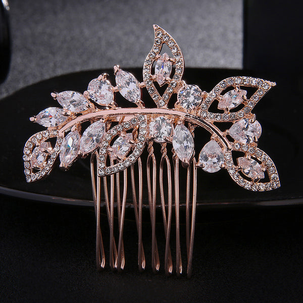 #12448190 Rose Golden Zircon/Alloy Ladies' Comb