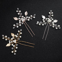 #02448070 Pretty Crystal Floral Handmade Combs & Barrettes with Imitation Pearls (sold in pair )