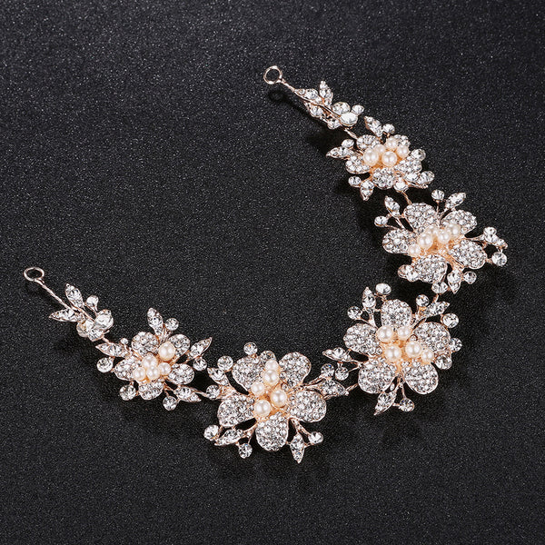 #05418219 Ladies Rhinestone/Alloy/Imitation Pearls Headbands Available Golden and Silver