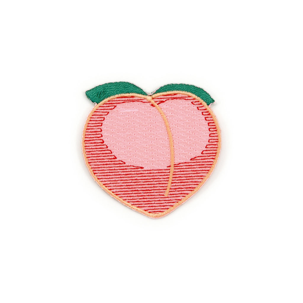 Peach Emoji Embroidered Iron-On Patch