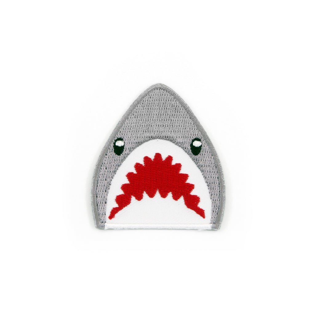 Shark Emoji Embroidered Iron-On Patch