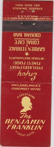 Matchbook Cover - Benjamin Franklin Hotel Philadelphia PA