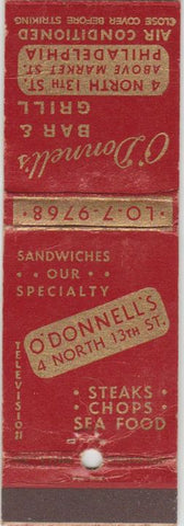 Matchbook Cover - O'Donnell's Bar Grill Philadelphia PA WEAR