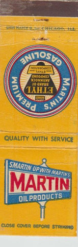 Matchbook Cover - Martin Oil gas IL IN
