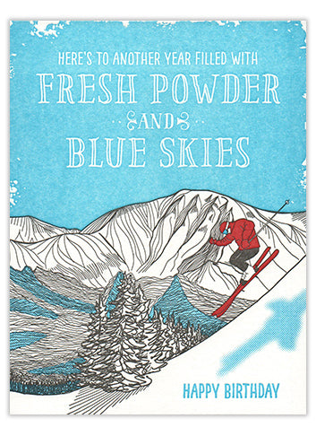 Fresh Powder and Blue Skies Birthday Card