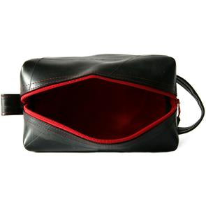 Red Lined Upcyled Inner Tube Dopp Kit