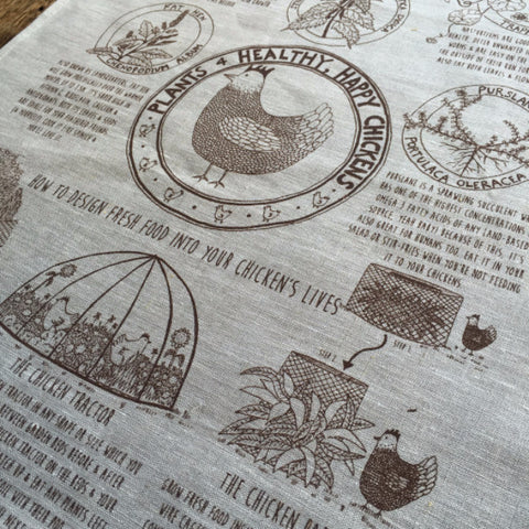 Tea Towel - Happy Chickens