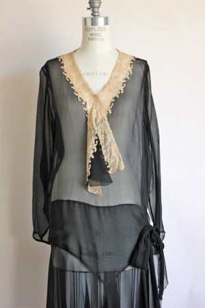 Vintage 1920s Black Silk Chiffon Dress With Ivory Lace