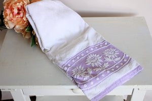 Vintage 1980s Martex Terrycloth Towel In Purple And White