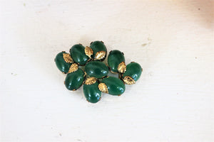 Vintage Mid Century Austrian Green Glass Beads With Gold Leaves Brooch