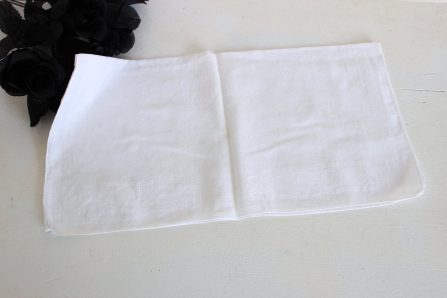 Vintage White Cotton Man's Hanky