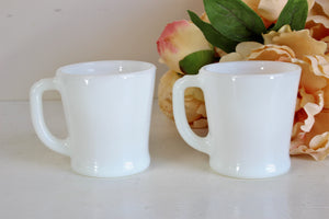 Vintage 1950s White Milkglass Fire King D Handle Coffee Mugs