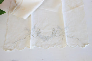 Vintage White Damask Towel With Embroidered Birds And Cutwork