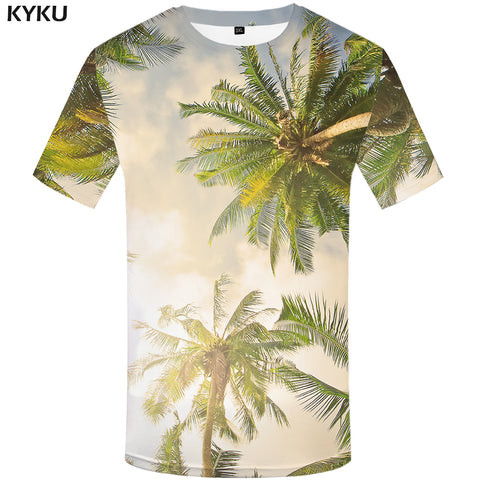 Mens Coconut Trees T Sunlight Top Beach Trees Hawaii T-Shirt Tee