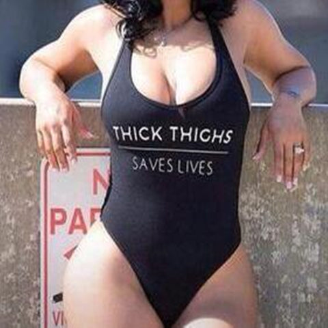 Womens High Cut THICK THIGHS SAVES LIVES Funny Letter Swimsuit One Piece Swimwear Swim Bathing Black Monokini