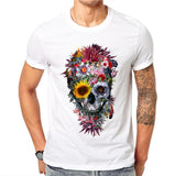 Mens 100% Cotton T Shirts Fashion Voodoo Skull Design Short Sleeve Casual Flower Skull Printed Tee
