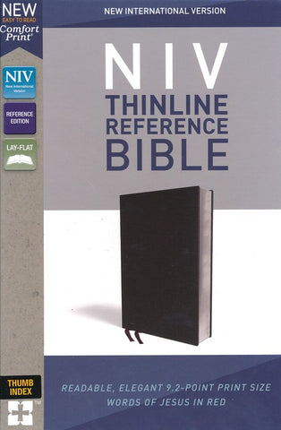 NIV Thinline Reference Bible/Large Print (Comfort Print)-Black Bonded Leather-Indexed