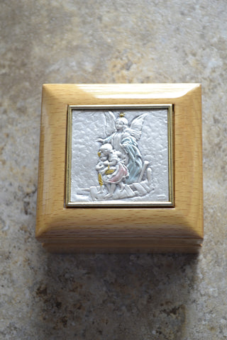 Guardian Angel Crossing Bridge Wood Keepsake Box