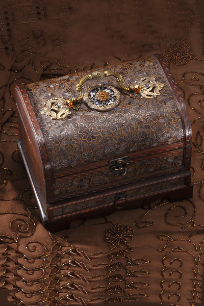 Brass Filigree Keepsake Box with Drawer