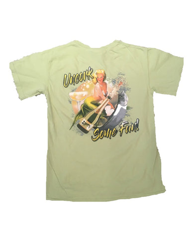 Champagne Mermaid Pocketed T-Shirt - Light Sage