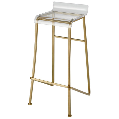 Hyperion Bar Stool in Aged Gold and Clear