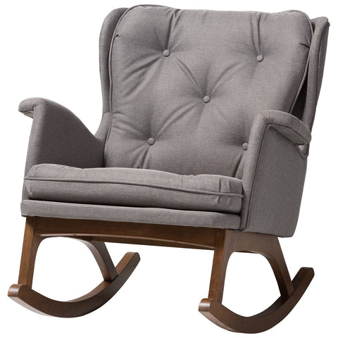Baxton Studio Maggie Grey Fabric Upholstered Walnut-Finished Rocking Chair