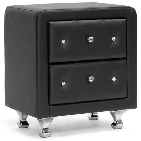 Stella Crystal Tufted Upholstered Modern Nightstand