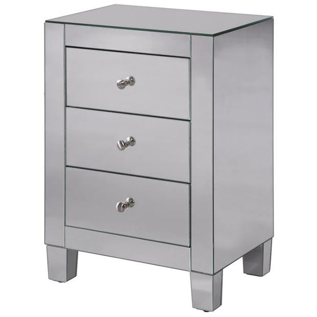 "3-Drawer Cabinet 17-3/4"" in Clear Mirror"