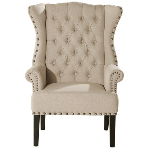 Baxton Studio Knuckey French Country Linen Nail Head Wing Back Armchair