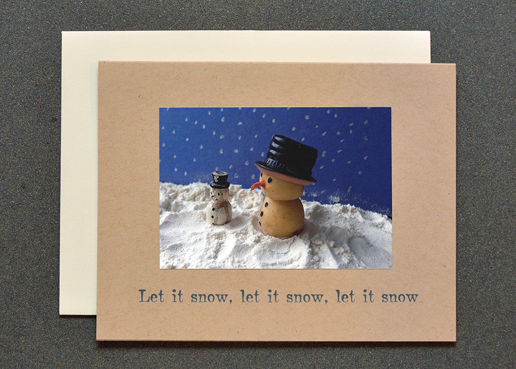 Potato snowman characters greeting card