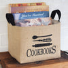 Cookbooks Burlap Storage Bucket