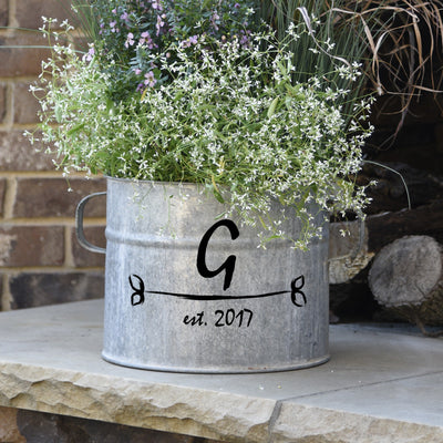 French Vintage Zinc Bucket with Custom Personalization - A Southern Bucket