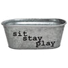 Sit Stay Play Dog Toys Decorative Metal Storage Bin - A Southern Bucket