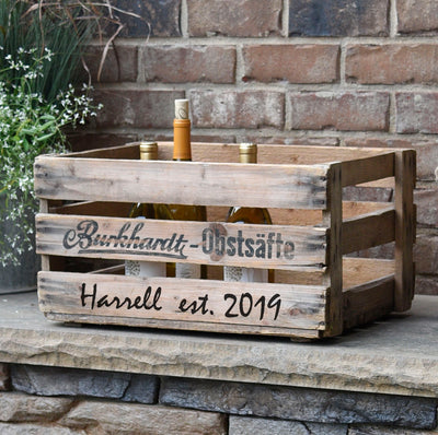 "Personalized Vintage Wine Crate ""Burkhardt-Obstsafte"""