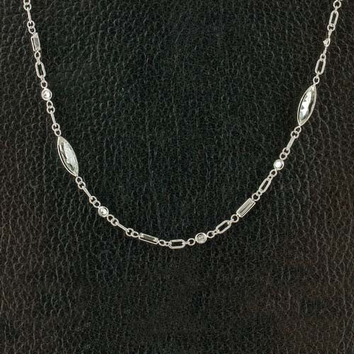 Diamond Studded White Gold Chain Necklace