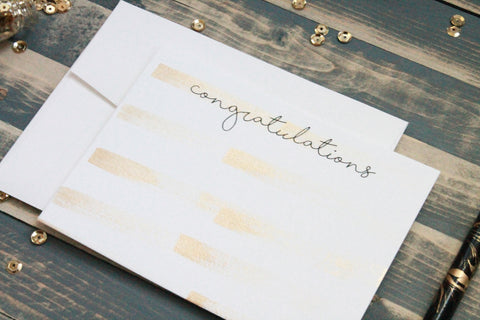 Congratulations - Hand Painted Gold Note Cards