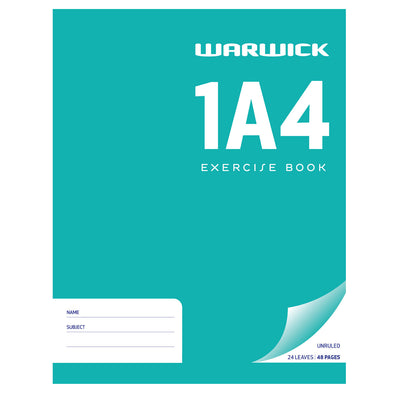 WARWICK EXERCISE BOOK 1A4 24 LEAF UNRULED - School Depot