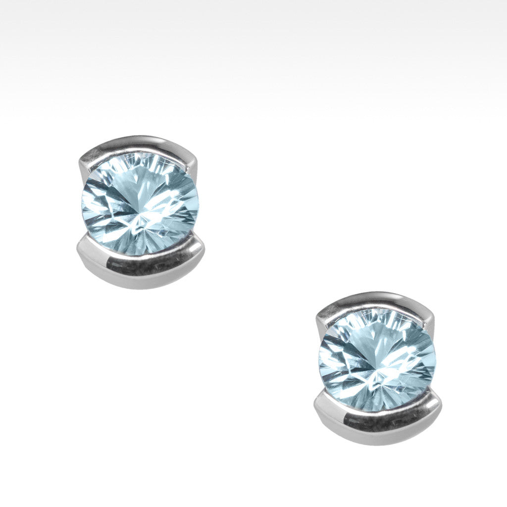 """Little Black Dress"" Semi-Bezel Aquamarine Earrings in Argentium Silver - Lyght Jewelers 10040 W Cheyenne Ave Ste 160 Las Vegas NV 89129"