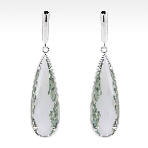 """Little Black Dress"" Semi-Bezel Aquamarine Earrings in Argentium Silver"