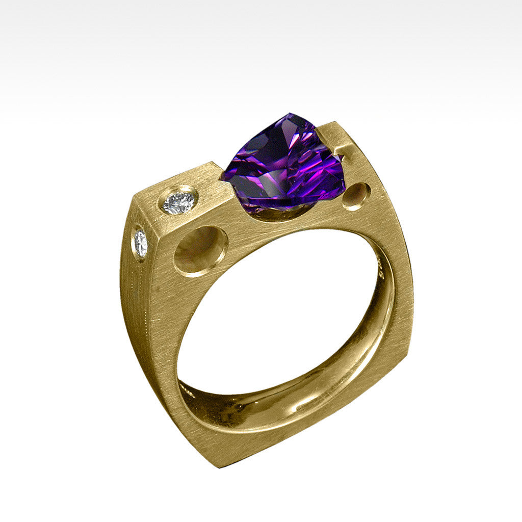 """Requisite"" Trillion Cut Amethyst Ring with Ideal Cut Diamonds in 14K Yellow Gold - Lyght Jewelers 10040 W Cheyenne Ave Ste 160 Las Vegas NV 89129"