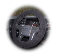 Black Faux Sheepskin Sherpa fleece car steering wheel cover