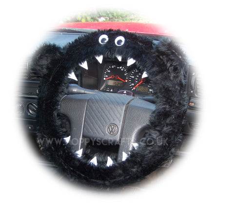 Black faux fur fuzzy Monster car steering wheel cover