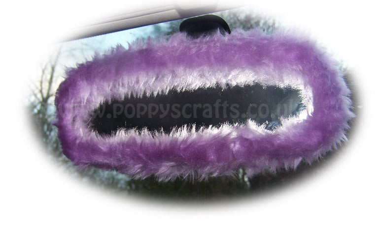 Pretty Faux Fur Lilac Rear View Interior Car Mirror Cover Fluffy And Fuzzy