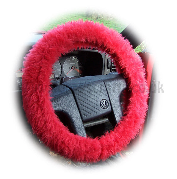 Racing Red Fuzzy faux fur Car Steering Wheel Cover