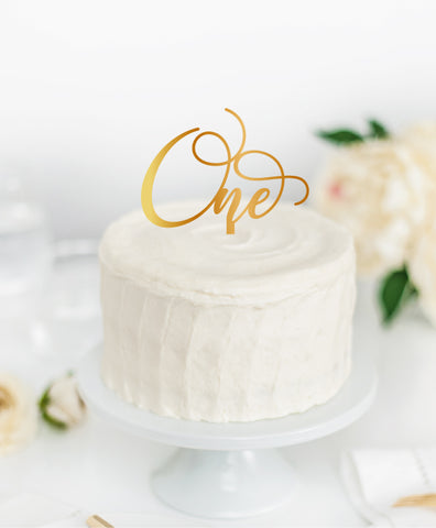 Acrylic Cake Topper 'ONE' Style 2